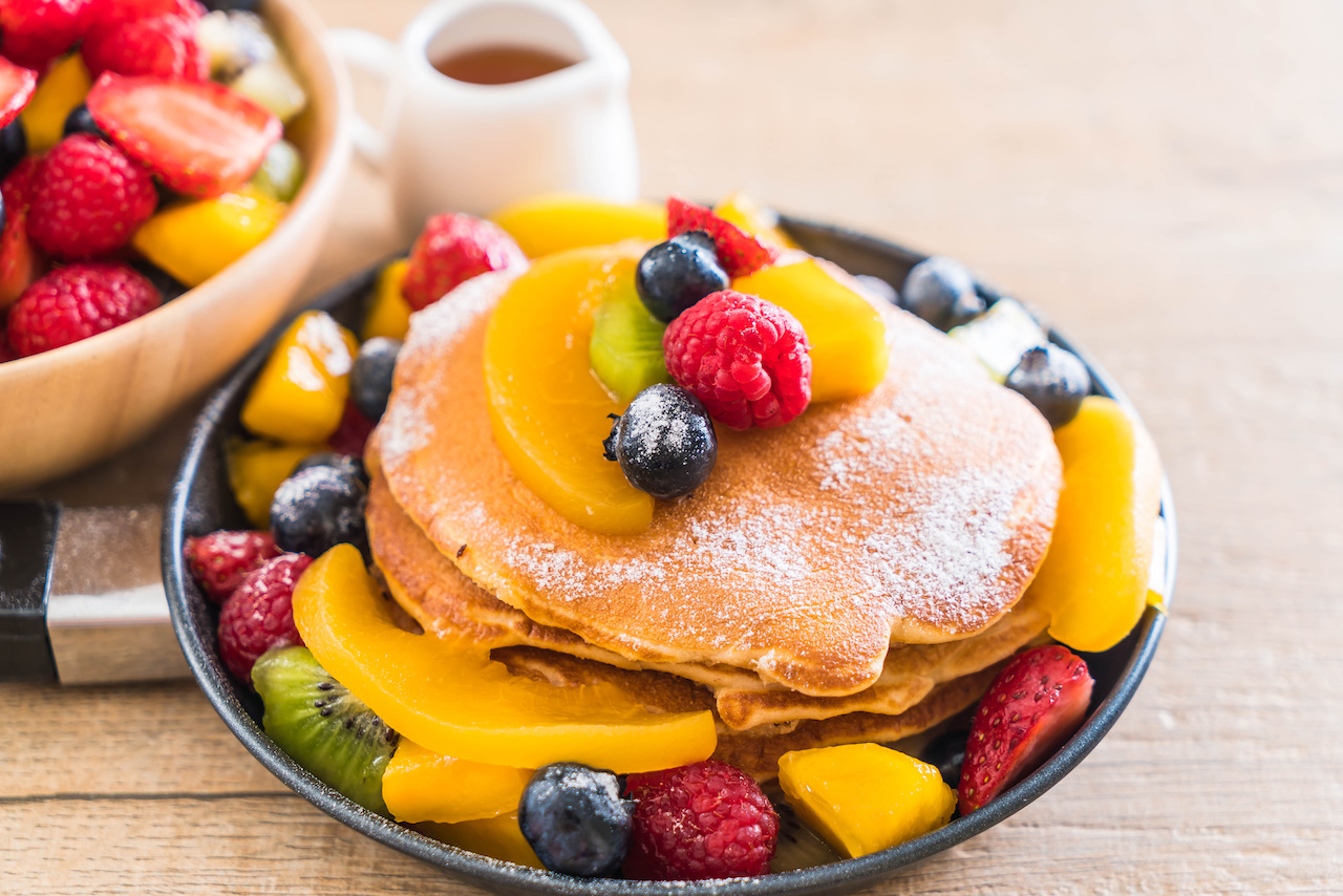 organic pancakes - fresh fruit - pancakes - sunday morning - ritual - breakfast - organic fruit - local honey - organic yogurt - healthy breakfast